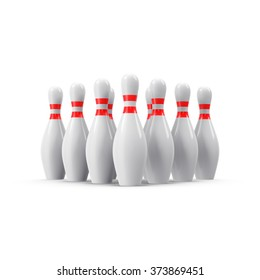 Bowling pins with grew shadow