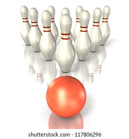 Bowling pins are lined up.