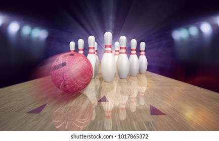 Bowling pins on pindeck with red bowling ball. 3d illustration.