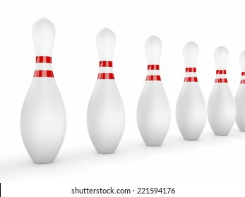 Bowling Pins on white background.