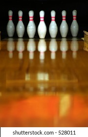 Bowling pins ready for action.