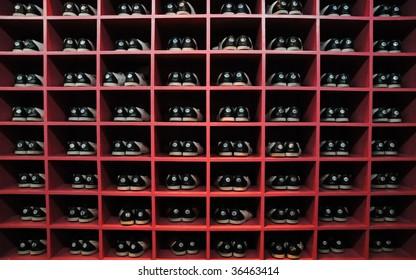 bowling shoes on racks