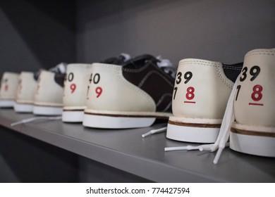 Bowling shoes on a shelf