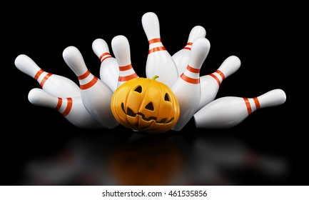 bowling strike halloween. 3D illustration