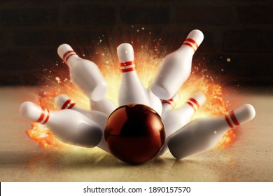 Bowling strike hit with fire explosion. Minimal concept of success and win.