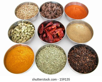 Bowls of different spices that many cultures use, including India