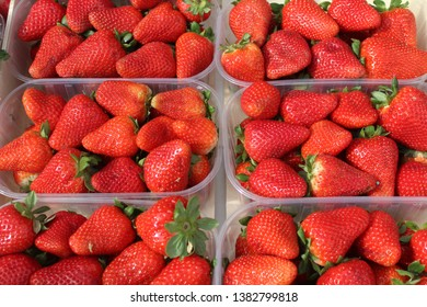 Bowls of fresh strawberries on the farmers market