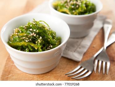 Bowls of Healthy Seaweed Salad