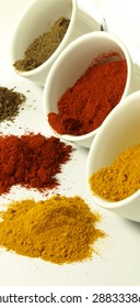 Bowls of hot and colorful indian spices