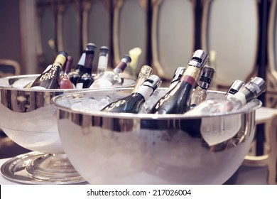 Bowls with iced champagne, toned image