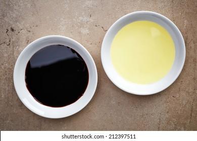 bowls of oil and balsamic vinegar