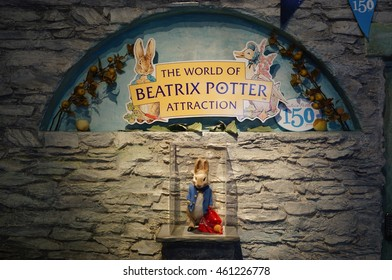 BOWNESS, UNITED KINGDOM -25 JULY 2016- The 150th birthday anniversary of children books English author town Beatrix Potter was celebrated throughout the Lake District region in July 2016.