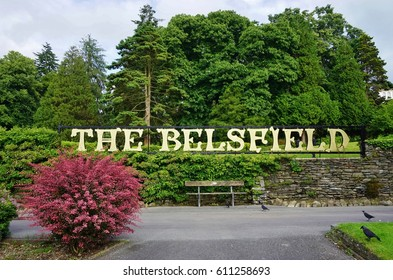 BOWNESS, UNITED KINGDOM -25 JULY 2016- The landmark Belsfield Hotel, decorated by Laura Ashley, overlooks the resort town of Bowness on Lake Windermere in the Lake District in Cumbria in England.