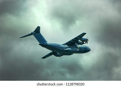 Bowness-on-Windermere, Lake District National Park / UK - 20 June 2018: RAF Airbus A400M Atlas, ZM418 of 70 Squadron, RAF Brize Norton, on Low Level training exercises.