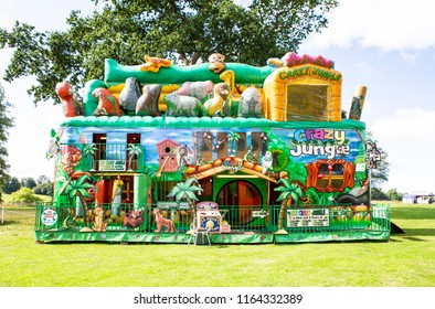 BOWOOD UK - AUGUST 25, 2018: Crazy Jungle inflatable adventue at the Great British Food festival held at Bowood House in Wiltshire