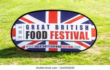 BOWOOD UK - AUGUST 25, 2018: The Great British Food Festival sign at  Bowood House in Wiltshire