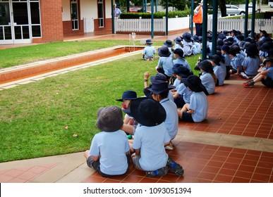 Bowral, NSW, Australia, February 7th 2018, School children in uniform visiting the Donald Bradman museum