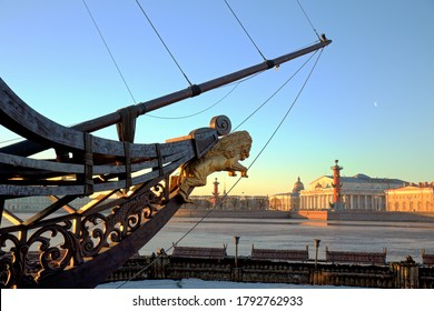 The bowsprit of sailing vessel against the spit of Vasilievsky island, St. Petersburg