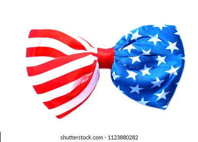 Bowtie. American Flag Bow Tie. isolated on white. room for text. 4th of july American flag bowtie. beauty and fashion
