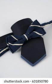 Bowtie and necktie.