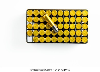 Box of 50 pieces of 0.22 small rim fire ammunition on white background