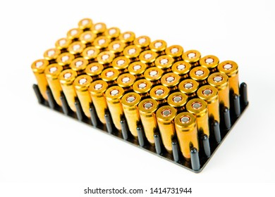 Box of 50 pieces of 9 mm pistol ammunition, small black plastic container