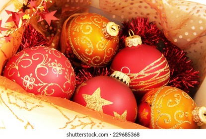 box of balls for the Christmas tree