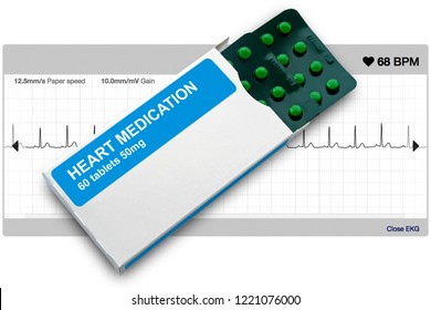 Box and blister pack of heart medication tablets used for treatment of heart arrhythmias including atrial fibrillation, with healthy heart ECG trace behind.