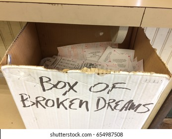 """Box of Broken Dreams"" - discarded lottery tickets"