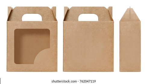 Box brown window Square shape cut out Packaging template, Empty kraft Box Cardboard isolated white background, Boxes Paper kraft natural material, Gift Box Brown Paper from Industrial Packaging carton
