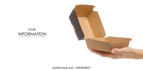 Box for a burger in a female hand pattern on a white background isolation