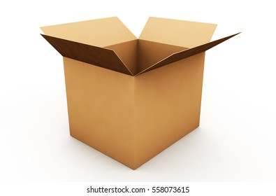 Box cardboard closed. Box isolated on white background. 3D render.