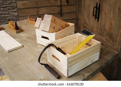 Box of carpentry tools on the table