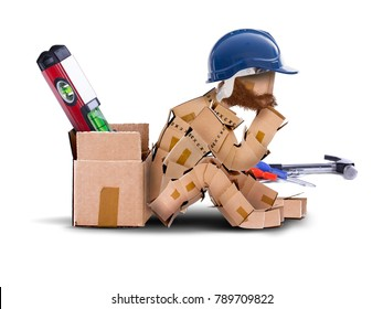 Box character workman with hard hat sat resting against a toolbox. bearded worker and tools isolated concept artwork on a white background with copy space. Thinking outside the box