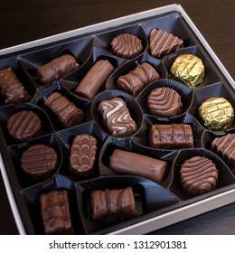 box of chocolates on table, close up