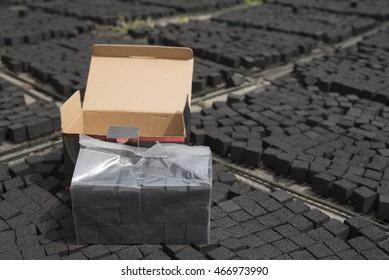 Box of  coconut shell charcoal for shisha or hookah