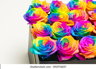 Box of colorful roses. Beautiful design of different kind of flowers.
