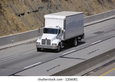 Box or Delivery Truck on the Highway