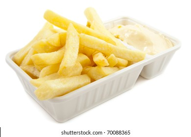 Box with dutch frites isolated over white