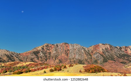 Box Elder Canyon landscape views, popularly known as Sardine Canyon, North of Brigham City within the western slopes of the Wellsville Mountains, by Logan in Cache County a branch of the Wasatch Range