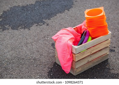 Box of Equipment Ready for a Game of Ultimate