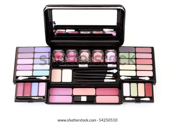 box of eyeshadows on white background - beauty treatment