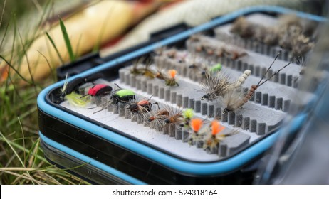 box of flies for fly fishing