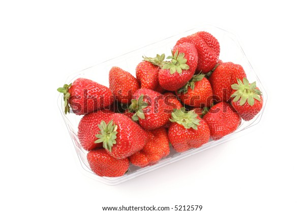 box of fresh and delicious strawberries isolated on white