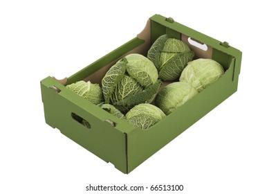 Box of fresh kales isolated on white background