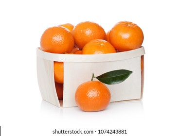 Box of Fresh organic mandarins tangerines fruits on white background