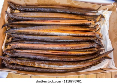 box of fresh smoked eel
