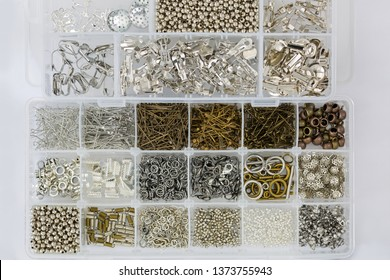 Box full of clasps, beads, head pins, clip on earring, jump rings for jewelry making supply