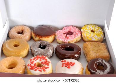 Box full of doughnuts, a dozen donuts