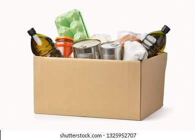 A box full of food in concept donation box isolated on white